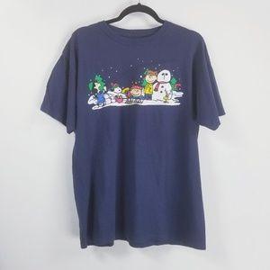 Peanuts Christmas shortsleeve t-shirt L blue